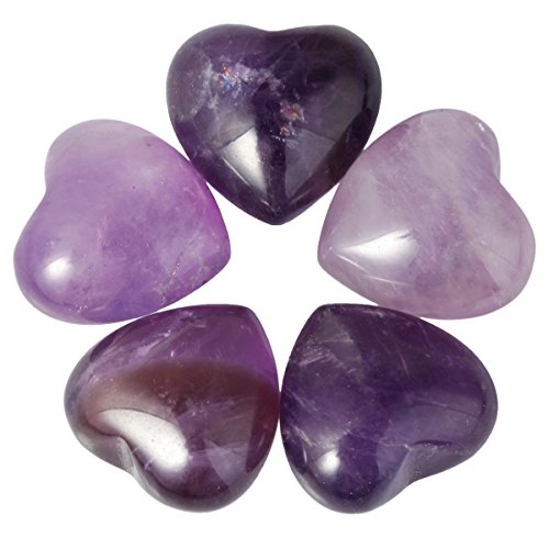 SUNYIK Amethyst Pocket Mini Puff Heart Worry Healing Palm Stone Pack of 10(0.5')