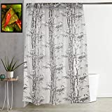 """Kuber Industries Bamboo Design PVC Shower Curtain with Hooks - 54""""x84"""", Grey"""