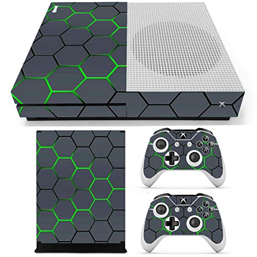 C-FUNN Green Grid Vinyl Decal Skin Stickers Cover voor Xbox One S Game Console&2 Controllers