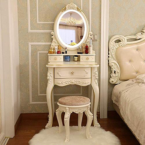 Best Prices! Qin Vanity Table Set with Lighted Mirror, Makeup Dressing Table and Cushioned Stool Set...