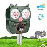 Katzenschreck Ultraschall Solar, Tiervertreiber mit Einstellbar Ultraschall Blitz Wasserdicht Abwehr, Tierschreck für Marder Katzen Vögel Waschbären Draußen Rasen Bauernh