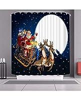 メリークリスマスサンタクロースと12のフック、装飾的なポリエステル布のバスカーテン、新年の浴室装飾機械洗濯機が付いている雪だるまのシャワーのカーテン (Color : D, Size : 150*180cm)