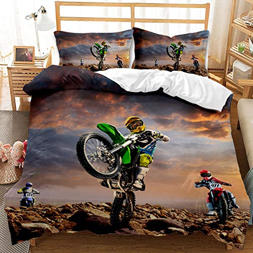 FRTDNE Ropa de cama de motocross, funda nórdica de microfibra, juego de cama juvenil, diseño de moto de carreras, funda de edredón 3D, funda de almohada (135 x 200 cm)