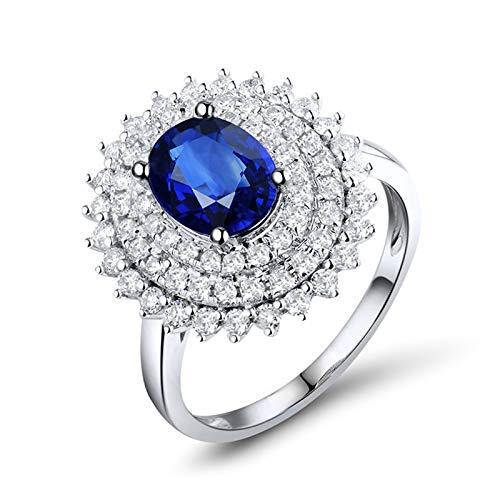 ANAZOZ Anillo Mujer Zafiro,Anillos Compromiso Oro Blanco 18 Kilates Mujer Plata Azul Flor con Oval Zafiro Azul 1.57ct Diamante 0.79ct Talla 16