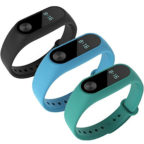 WindTeco Pack de 3 Correa Xiaomi Mi Band 2, Silicona Repuesto Pulsera Recambio Reloj Banda Extensibles Correa Reemplazo para Xiaomi Mi Banda 2, Negro, Azul, Verde (Sin Rastreador de Actividad)