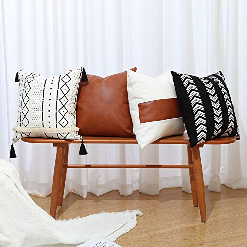 GALMAXS7 Boho Throw Pillow Covers 18 x 18 Set of 4 - Modern Stripe Geometric Farmhouse Decorative Pillow Cover Sets for Pillows - Couch Sofa Bed,Faux Leather Black and White Pillow Covers
