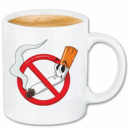 Reifen-Markt Kaffeetasse NICHTRAUCHER NO Smoking Zigarette Zigaretten Qualm ANTIRAUCHER KETTENRAUCHER RAUCHFREI RAUCHVERBOT Keramik 330 ml in Weiß