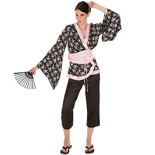 TecTake dressforfun Frauenkostüm Geisha | Wundervoller Kimono | Bequeme Hose | inkl. Hüftgürtel und Bindeband mit großer Schleife (XL | Nr. 300998)