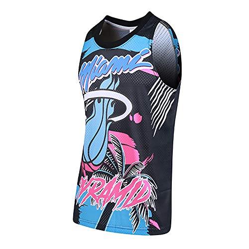 Ordioy Camiseta De Baloncesto Miami Heat, Número Y Nombre De Jugador Personalizables, Camisetas De NBA Swingman, Camisetas De Entrenamiento De Uniforme Deportivo,3XL