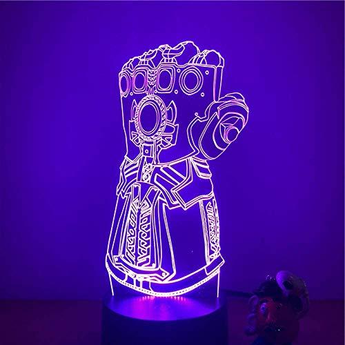 Handschoenen 3D LED Night Lights Action Figuur 7 kleuren Touch tafel Deco Model optische illusie