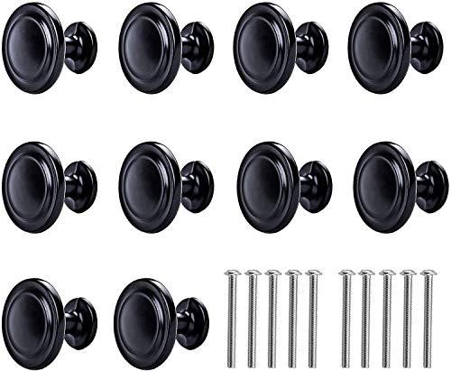 12 tiradores redondos de seta para muebles de color negro mate para cajones, cajones, cajones, muebles de cocina, dormitorio