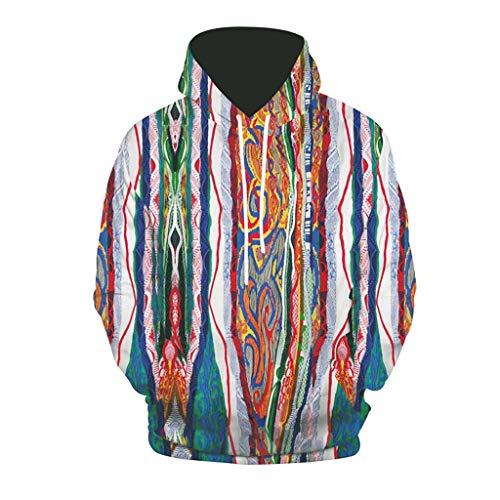 Xmiral Sweatshirt Herren 3D Drucken Hoodie mit Kapuze Lose Long Sleeve Kapuzenpullover Beiläufig Fleece Hoodies Pullover Langarm Hip Hop Kapuzenpulli (a Blau,XL)
