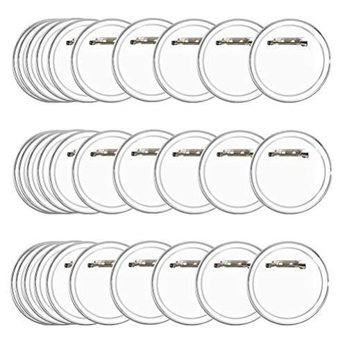 BUYGOO 30PCS Buttons Selber Machen ohne Buttonmaschine Transparente DIY Ansteckbuttons Set Ø 60mm x 40mm Buttons mit Anstecknadel für Foto Bild Kleidung