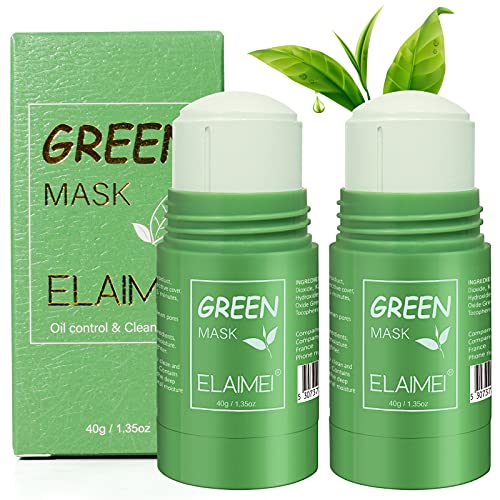 2er Pack Purifying Deep Clean Oil Control Cleansing Green Tea Stick Mask, Anti-Akne Green Face Mask Sticks, Solid Oil Control Cleansing Mask Alle Hauttypen