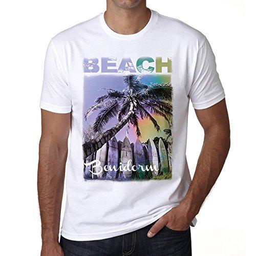 Benidorm, Beach Palm, Camiseta para Las Hombres, Manga Corta, Cuello Redondo, Blanco
