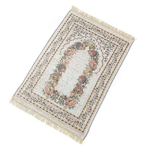 lwxsyusqduzhjo, 70X110Cm Alfombras de oración Musulmanas islámicas turcas Estera Alfombra de decoración de Regalos de Eid de Ramadán Floral de Colores Vintage con Adornos de borlas, Alfombra de Piso