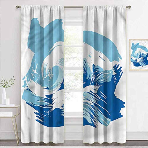 Blackout Window Curtains Ocean, Sealife Beach Surfing Hobby Patio Sliding Door Curtain Blocking Out The Light W55 x L39 Inch