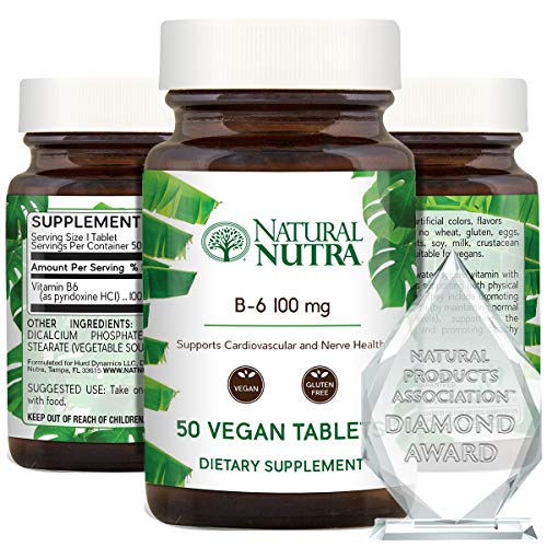 Natural Nutra Premium Vitamin B6 (Pyridoxine Hydrochloride), Cardiovascular Supplement, Heart Support, Healthy Skin, Immune System, Nerve and Brain Health, 50 Vegan and Gluten Free Tablets