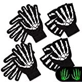 Whaline 4 Pairs White Skeleton Gloves, Halloween Bone Gloves for Adults, Glow in The Dark, Unisex Knitted Gloves, Full Finger and Half-Finger, for Costume Party, Cosplay, Cycling, Running, Black