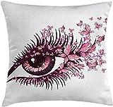 LXJ-CQ Schmetterlinge Dekokissen Kissenbezug, Fairy Female Eye mit Schmetterlingen Wimpern Mascara...