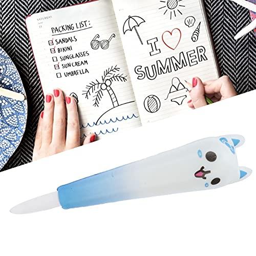 Eulbevoli Papelería, bolígrafo para aliviar el estrés de Buena resiliencia para Alivia Fatiga de Escribir Durante Mucho Tiempo para Escribir(Blue Cat)