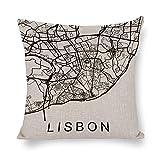 UTF4C Funda de almohada decorativa de Lisboa City Map Lisboa, Portugal, 45 x 45 cm, funda de almohada de lino de algodón