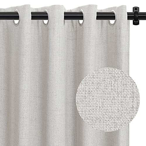 100% Blackout Curtain 84 Inch Length Block Full Light Linen Textured Blackout Curtains for Bedroom Thermal Insulated Grommet Curtains Window Treatment Curtain Panels(W50 x L84 2 Panels, Beige)