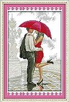 雨のクロスステッチキット漫画14ctでロマンチックなウォーキングは、キャンバスステッチ刺繍DIY手作り刺繍を印刷11CT (Cross Stitch Fabric CT number : 11ct print canvas)