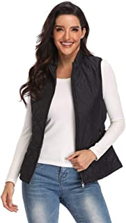 Argstar Lightweight Stand Collar Zip Pockets Gilet Quilted Puffy Vest for Women