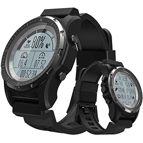 LQQZZZ Relojes Deportivos para Hombres, Relojes GPS Impermeables Al Aire Libre Información De Soporte Información Push Calorie Podómetro Ruleta Función para Deportes Y Ocio