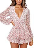 Relipop Women's Polka Dot Jumpsuits Deep V-Neck Long Sleeve Knot Front Ruffle Hem Rompers (T1, Small) by