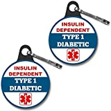 Insulin Dependent Type 1 Diabetic Medical Alert Tag 2pcs Zipper Pull Charm 1.25 inches for Bag, Backpack