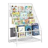XQIAO Kinder Bücherregal,Spielzeugregal Eisen,Großer Kinder Aufbewahrungsregal,Bücherregal Für Kinder Hängetasche,für Kinderzimmer, Spielzimmer,Kindergarten,White
