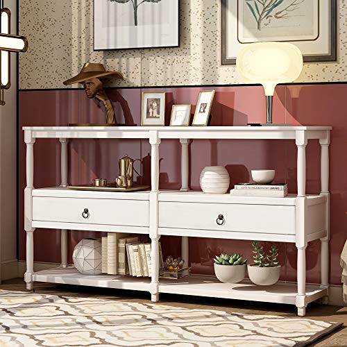 AnSettle Rustic Console Table Entryway Table, Sofa Table with 3-Tier Open Storage Shelf and Two Drawers Buffets Sideboards for Living Room, Hallway, Dining Room (Antique White)