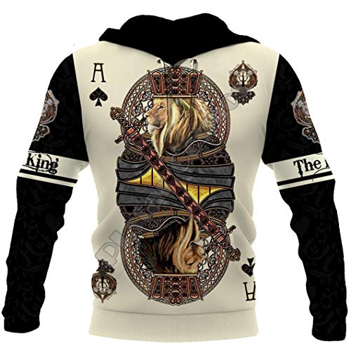 King Ace Spade Lion Poker 3D All Over Printed Hoodie Hombre Chaqueta Pullover Hoodies M