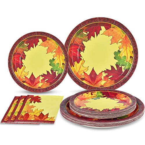 Thanksgiving Paper Plates and Napkins Fall Leaves Disposable Dinnerware Set Thanksgiving Party Supplies for 50 Guests Includes 50 Dinner Plates 50 Dessert Plates 100 Napkins