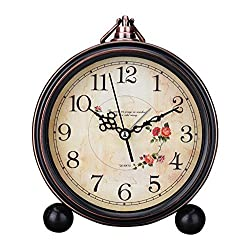 Classic Retro Antique Design European Style Decorative Alarm Clock Quartz Movement Battery Operated Analog Large Numerals Bedside Table Desk Alarm Clock, HD Glass Cover, Easy to Read(Arabic,Flower)