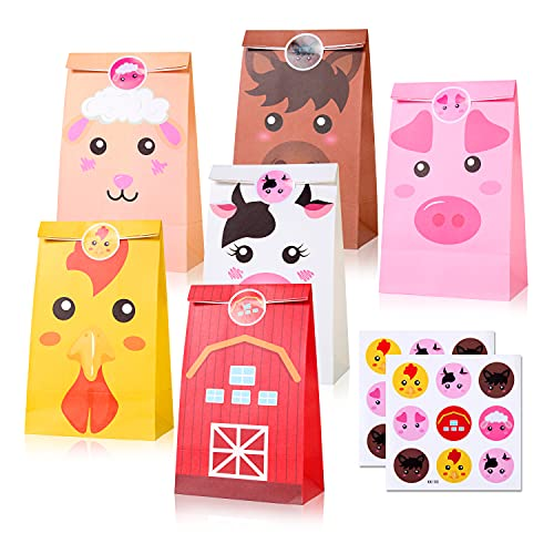 12 Pack Farm Animal Party Bags Decoration Barnyard Party Favor Candy Goody Treat Bags with Stickers for Kids Farm Theme Birthday Baby Shower Supplies
