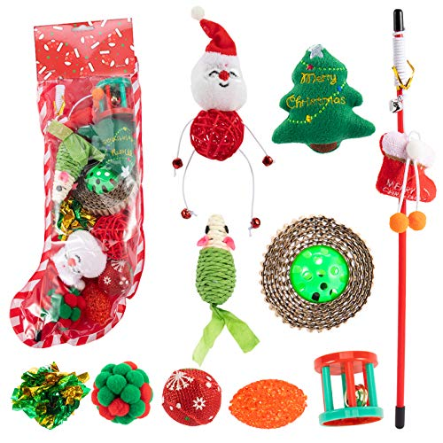 MEWTOGO Pack of 2 Christmas Cat Toys Stockings- A Total of 20 Pieces Assorted Cat Interactive Toys Santa Stocking Cat Toy Gift Set for Kitty