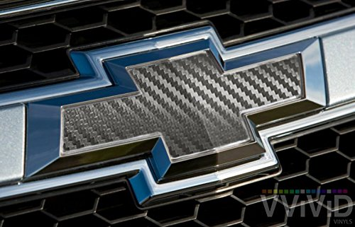 VVIVID Gunmetal Grey Carbon Fibre Auto Emblem Vinyl Wrap Overlay Cut-Your-Own Decal for Chevy Bowtie 11.80 Inch x 4 Inch Sheets (x2)