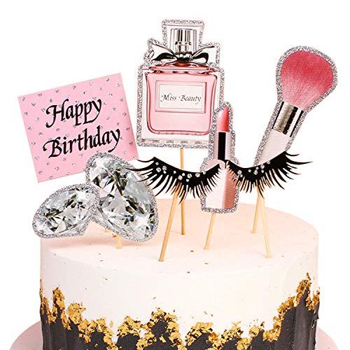 Unimall 28 Stück Glitter Makeup Cupcake Toppers Kosmetik Cupcake Picks Wimpern Diomand Parfüm Gute zum Geburtstag Party Kuchen Dekoration für Salon Geburtstag Mädchen 18. Geburtstag Bachelorette Party