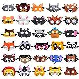 30 Pieces Felt Animal Masks for Kids Jungle Theme Party Favors Supplies