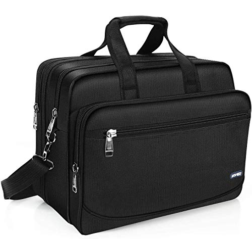 HOMIEE 15.6 Inch Laptop Computer Bag, Large Business Briefcase Expandable Messenger Shoulder Bag with Organizer Durable Carrying Case for Travel/Business/School/Men/Women Fits 15.6' Computers, Black