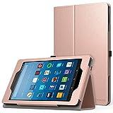 MoKo Hülle für All-New Amazon Fire HD 8 Tablet (7th und 8th Generation – 2017 und 2018 Modell) - Kunstleder Ständer Schutzhülle Smart Cover mit Stift-Schleife, Rose Gold