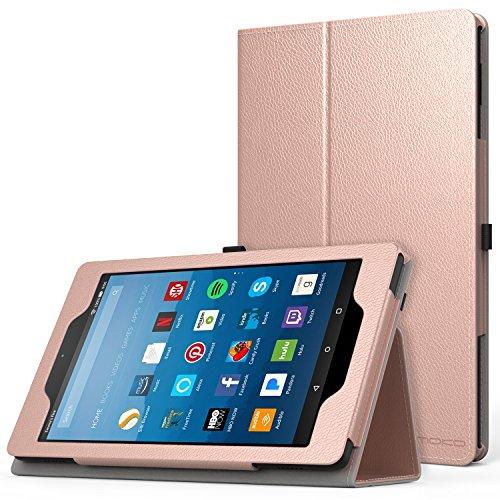 MoKo Hülle für All-New Amazon Fire HD 8 Tablet (7th & 8th Generation – 2017 & 2018 Modell) - Kunstleder Ständer Schutzhülle Smart Cover mit Stift-Schleife, Rose Gold
