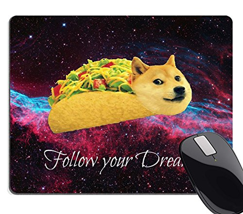Wknoon Gaming Mouse Pad Custom,Doge in Taco Chicken Rolls Flying Across The Galaxy Space Follow Your Dream Amusing Mouse Pad