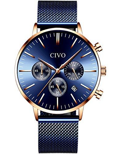 CIVO Reloj Hombre Acero Inoxidable Cronometro Relojes Hombres Impermeable Minimalista Relojes de Pulsera para Hombres Fecha Calendario Deportivo Vestir Casual Reloj Cuarzo para Hombre Azul