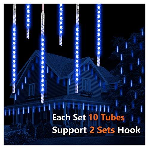 Meteor Shower Rain Lights, Vikdio 50cm 10 Spiral Tubes 540 LEDs Waterproof Icicle Snow Falling String Lights for Wedding Christmas Garden Tree Home Decor, Support 2 Sets Hook Together (Blue)