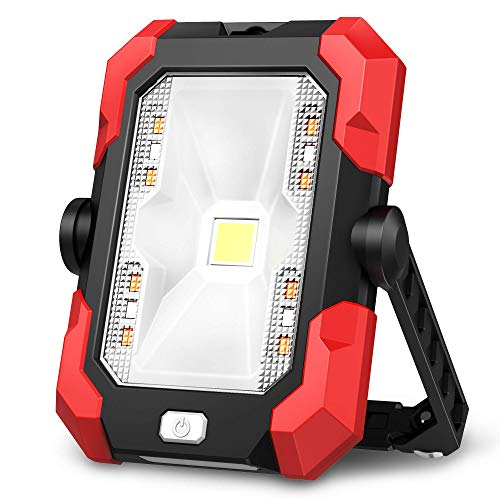 Portable Work Lights, 4400 mAh Solar LED Work Lights Outdoor Camping Lights, 4 Brightness Modes Waterproof LED Flood Lights with Stand for Construction Site, Jetty, Workshop, Garage