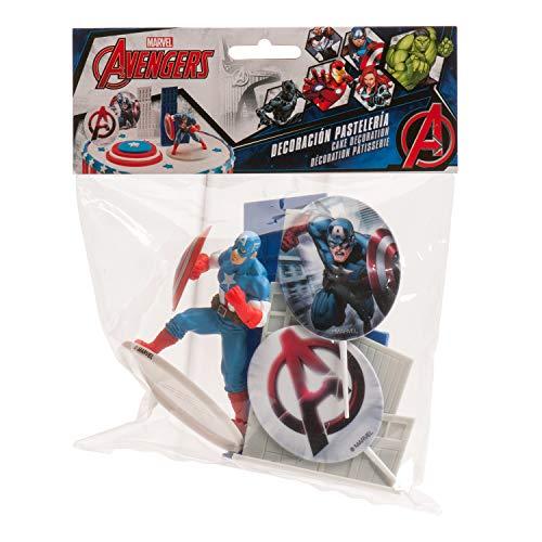 Dekora 350092 Kit Decorazione per Torte Capitan America, Multicolore, 8.5 cm